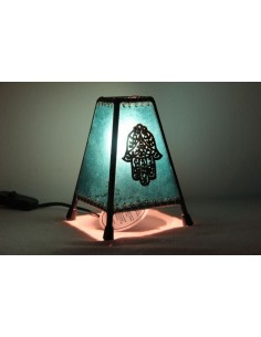 Lampe de table petite mauve main