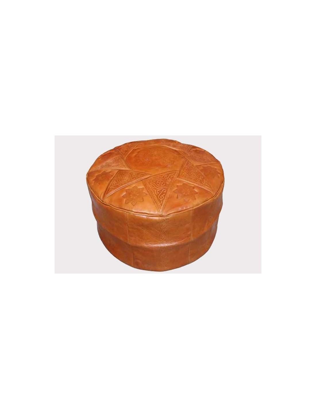 Pouf marocain pouf marocain ottoman tunisien cuir artisanal for Meuble artisanal tunisien