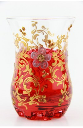 Verre à thé tunisien motif 1 rouge