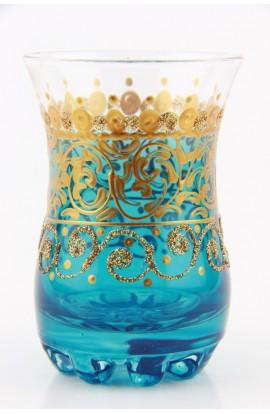 Verre à thé tunisien motif 2 bleu