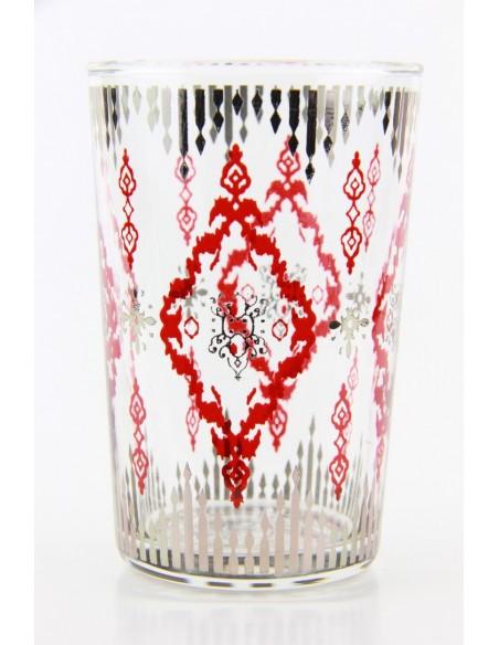 Verre à thé marocain motif 8 rose