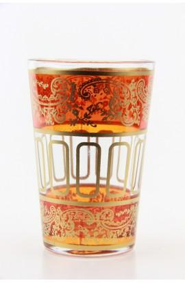 Verre à thé marocain motif 9 orange