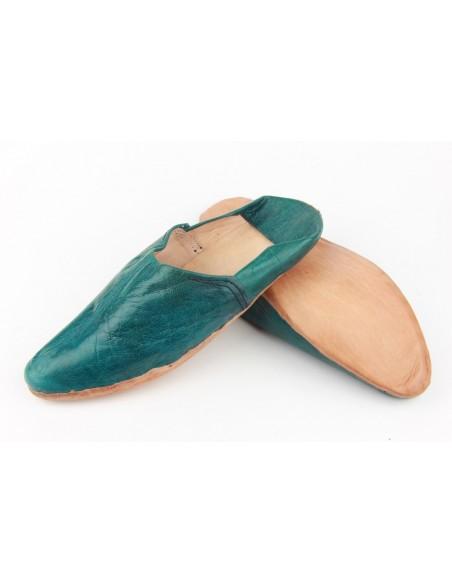 Babouche pointed plain blue