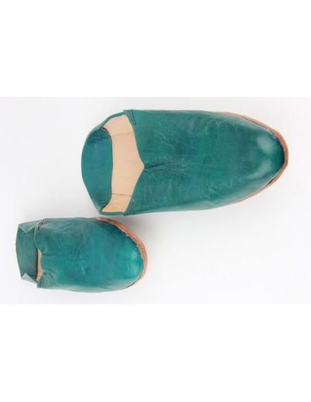 Babouche marocaine au bout pointu simple bleu