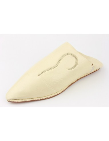 Babouche pointed embroidered brown