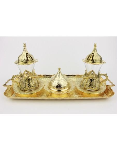 Service à thé turque double bronze