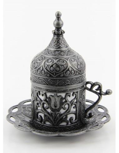 Bronze Turkish tea and coffee glass silver