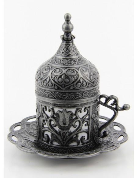 Verre à thé et café turque double argent