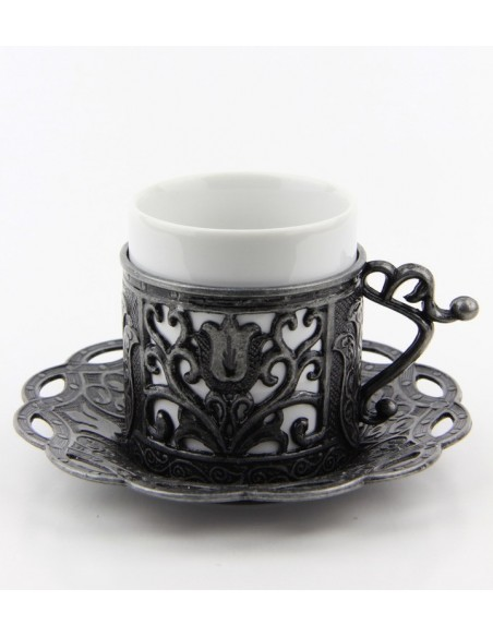 Silver Turkish tea and coffee glass double