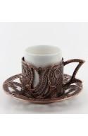 Service à thé et café turque familiale rouge