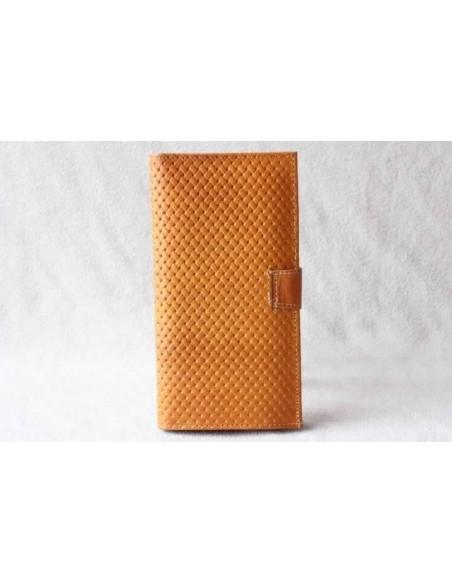 Leather wallet mustard large pattern 1