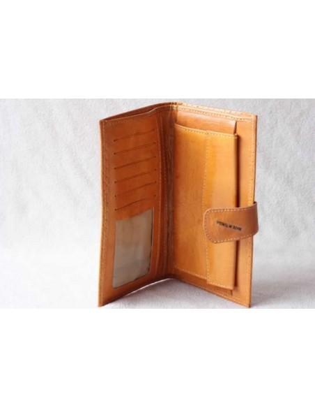 Portefeuille en cuir moutarde grand motif 1
