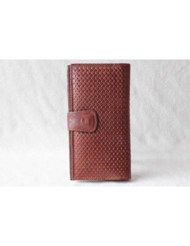 Portefeuille en cuir marron clair grand motif 1
