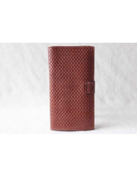 Leather wallet light brown large pattern 1