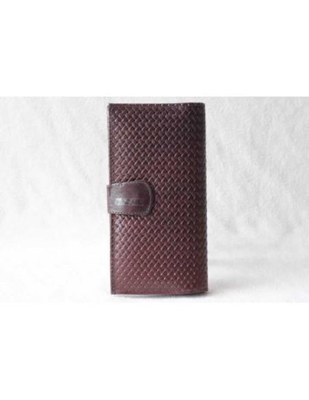 Portefeuille en cuir marron foncé grand motif 1