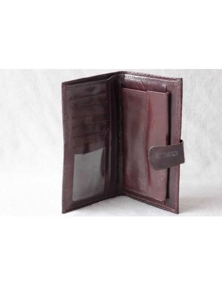 Leather wallet dark brown large pattern 1