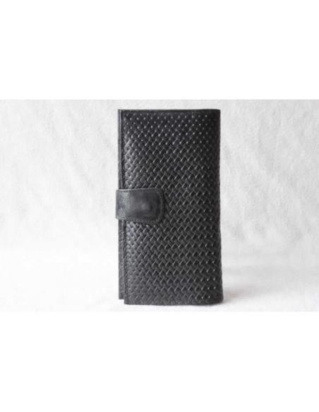 Leather wallet black large pattern 1