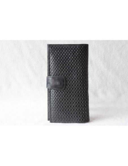 Portefeuille en cuir noir grand motif 1