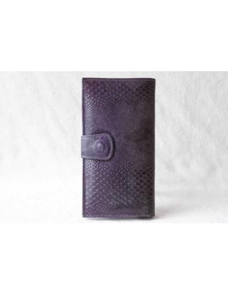 Leather wallet mauve large pattern 2