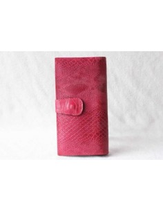 Portefeuille en cuir rose grand motif 2