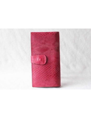 Leather wallet pink large pattern 2