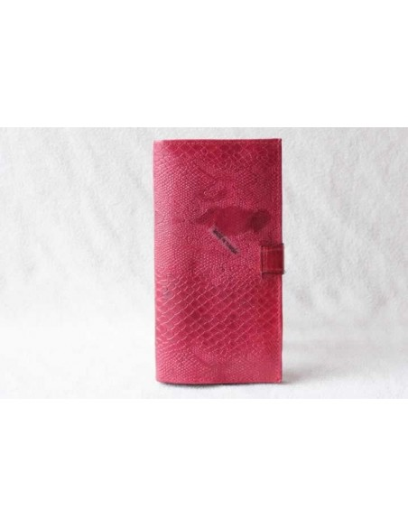 Portefeuille en cuir rose grand motif 2