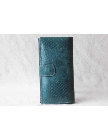 Leather wallet turquoise large pattern 2