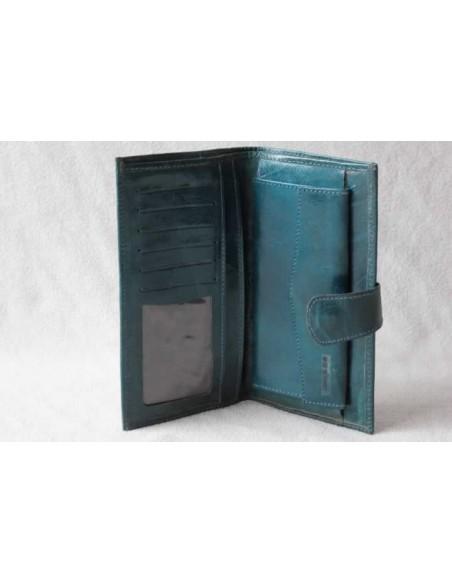 Portefeuille en cuir turquoise grand motif 2