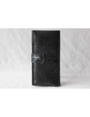 Leather wallet black large pattern 2