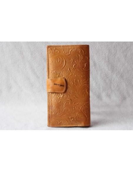 Leather wallet mustard large pattern 3