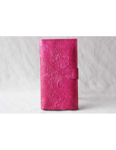 Leather wallet pink large pattern 3