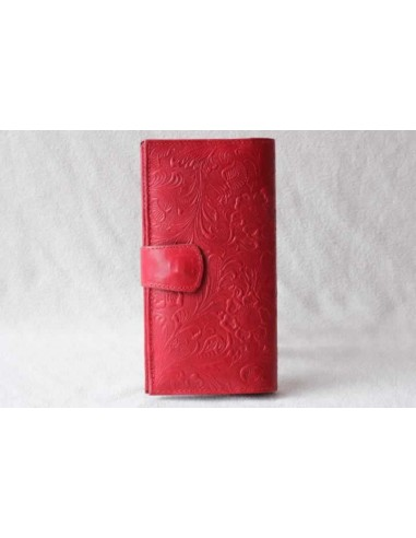 Leather wallet red large pattern 3
