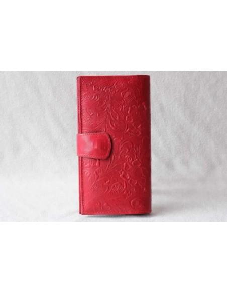 Portefeuille en cuir rouge grand motif 3