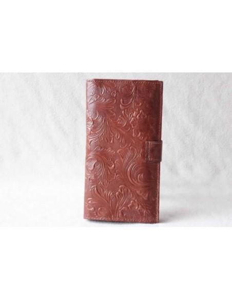 Portefeuille en cuir marron clair grand motif 3