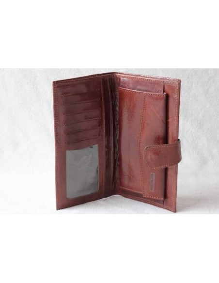 Leather wallet light brown large pattern 3