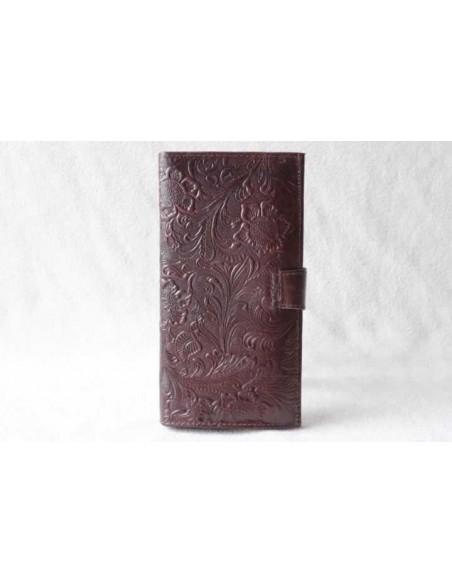 Portefeuille en cuir marron foncé grand motif 3