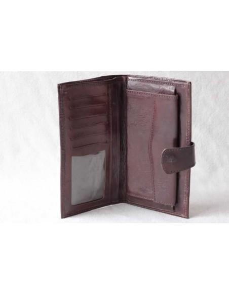 Leather wallet dark brown large pattern 3
