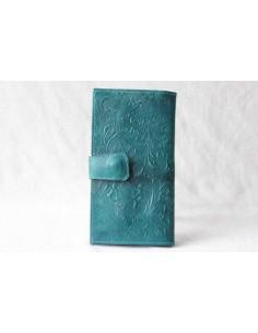 Portefeuille en cuir turquoise grand motif 3