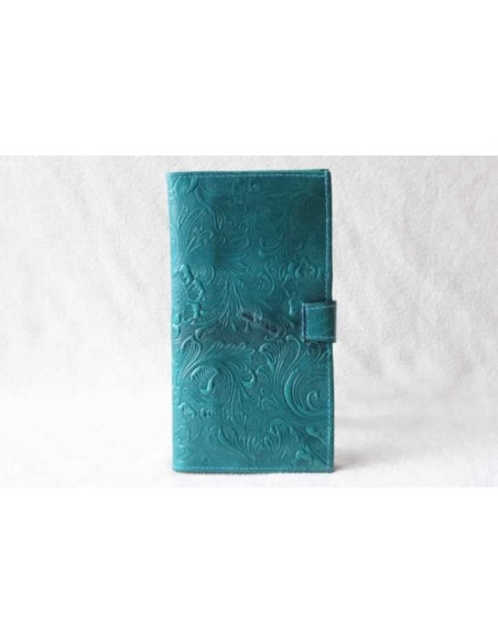 Leather wallet turquoise large pattern 3