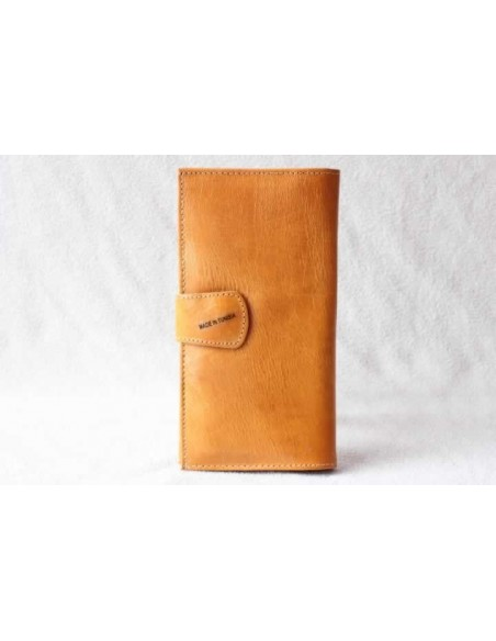 Leather wallet mustard without pattern