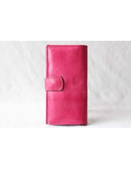 Leather wallet pink without pattern