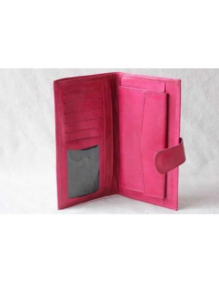 Portefeuille en cuir rose sans motif
