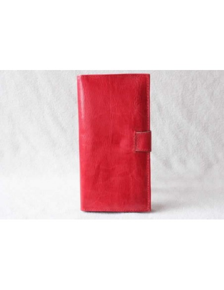 Leather wallet red without pattern