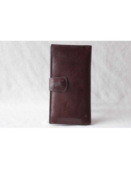 Leather wallet brown without pattern