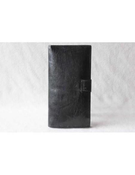 Portefeuille en cuir noir sans motif