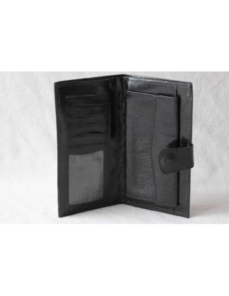 Leather wallet black without pattern