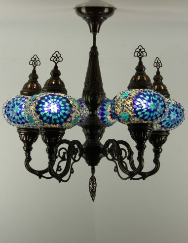 Glass mosaic chandelier blue NOUR
