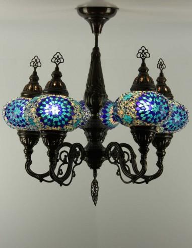 Lustre en mosaïque de verre bleue NOUR
