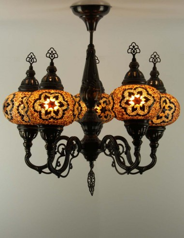 Glass mosaic chandelier brown CHAHED