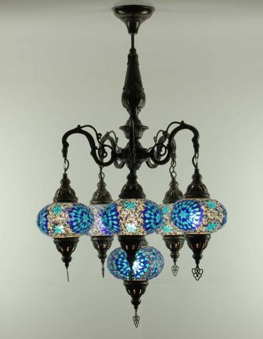 Glass mosaic chandelier blue 6KB3